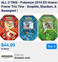 1 EACH OF ALL 3 TINS ! * Each tin includes 1 of 3 special foil cards-Sceptile, Blaziken, & Swampert + 4 Pokemon TCG booster packs + A BONUS online code card! * A great way to get all 3 of the holofoil cards for the power trio super pokemon * Three extra-powerful Pokemon step up to the challenge, each one a master of the arena! * he Pokemon Trading Card Game: EX Hoenn Power Trio Tin adds an extra EX boost to your collection, because each of these awesome tins includes a fully battle-tested Po