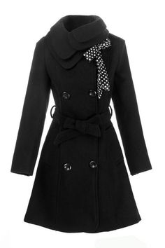 Double Breasted Coat Outerwear Jacket in Black I must have -