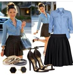 Summer look #jeanshirt#blackSkirt