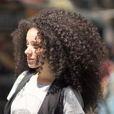 Big curly Afro hair.