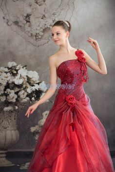 One-shoulder Floor Length Ball Gown Organza Red Wedding Dress with Flowers(ZJ7067)