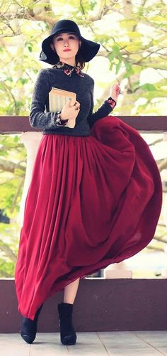 Wine Red Maxi Skirt  |  Black and red makes one look as feisty yet mysterious like a black widow.  Watch out.  |  Inspiration for hijab, hijab style, hijab fashion