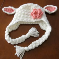 White Lamb Crochet Earflap Hat with Pink Flower by BarefootTams, $27.50