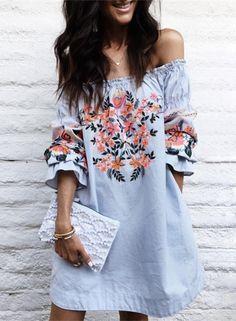 off Shoulder Floral Embroidery Loose Mini Dress
