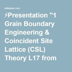 "⚡Presentation ""1 Grain Boundary Engineering & Coincident Site Lattice (CSL) Theory L17 from 27-750, Advanced Characterization & Microstructural Analysis A. D. Rollett."""