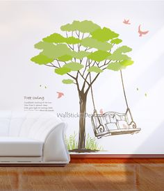 Tree Swing With Birds Wall Sticker