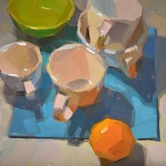 "Daily Paintworks - ""Convening on Blue"" - Original Fine Art for Sale - © Carol Marine"