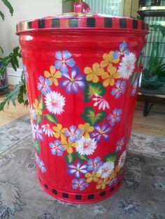 Hand Painted 20 Gallon Trash Can  krystasinthepointe.com - ETSY