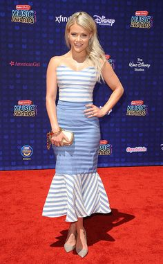 Witney Carson from Radio Disney Music Awards 2017: Red Carpet Arrivals  Blond ambition! The Dancing With the Stars pro looks fit and fabulous in her striped midi dress.