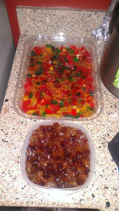 Yummy vodka soaked gummy bears and Jack Daniels soaked coke gummies :)