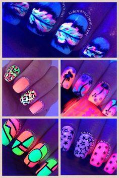Black light neon nails