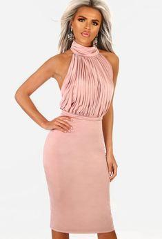 12919eed0 She's Sassy Pink Slinky Pleated Halterneck Midi Dress Pink Midi Dress,  Strappy Heels, Stretch