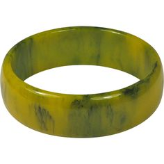 Bakelite Bangle Bracelet Yellow Green Ink Spot - Offered by Ruby Lane shop The Vintage Jewelry Boutique