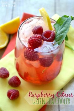 Raspberry Citrus Green Tea Cooler - a light, refreshing drink that's perfect for summer!
