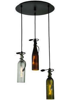 """18 Inch W Tuscan Vineyard Multi-color 3 Wine Bottle Cascading Pendant - 18 Inch W Tuscan Vineyard Multi-color 3 Wine Bottle Cascading Pendant Theme: CONTEMPORARY Product Family: Tuscan Vineyard Multi-Color Product Type: CEILING FIXTURE Product Application: PENDANT -- CEILING FIXTURES Color: BLACK Bulb Type: INTERMEDIATE Bulb Quantity: 3 Bulb Wattage: 40 Product Dimensions: 17""""-72H x 18WPackage Dimensions: NABoxed Weight: 10 lbsDim Weight: 48 lbsOversized Shipping Reference: NAIMPORTANT NOTE…"""