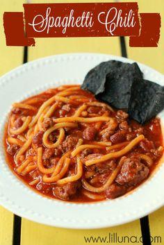 Spaghetti Chili. This recipe is definitely a keeper!! So good! #chili
