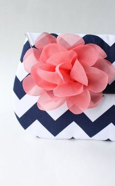 Chevron Clutch and Flower Brooch, Navy and Coral, Bridesmaid Gift, Wedding Clutch, Envelope Clutch $54 | #allisajacobs on Etsy