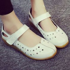 Hollow Out Pure Color Hook Loop Soft Sole Casual Sandals For Women