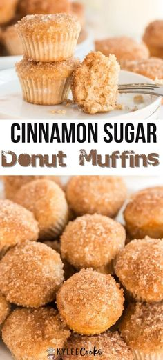 A hybrid between a donut and a muffin - sweet, fluffy, and dipped in butter and then rolled in cinnamon sugar. These are the perfect treat with coffee or tea! Donut Recipes, Best Dessert Recipes, Brunch Recipes, Baking Recipes, Snack Recipes, Brunch Ideas, Muffin Recipes, Breakfast Recipes, Unique Desserts