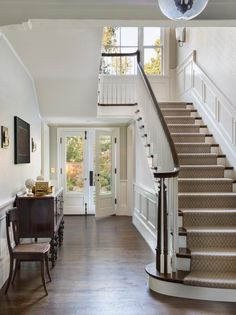 Entryway Stairs Hallway tennessee style farmhouse front staircase tim Source: website foyer kids sliding railing Source: website lets. Foyer Staircase, Entryway Stairs, Carpet Staircase, Modern Entryway, House Stairs, Staircase Ideas, Staircases, Entryway Ideas, White Staircase