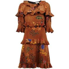 Fendi floral ruffle dress ($2,080) ❤ liked on Polyvore featuring dresses, fendi, brown, short dresses, short sleeve floral dress, flutter-sleeve dress, brown dress and ruffle dress
