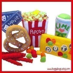 TIEMPO de la película - PDF fieltro patrones de comida (palomitas de maíz, dulces, salados, regaliz, bebida, entradas) por BuggaBugs