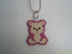 Brick stitch TEDDY BEAR necklace Delica beads by Beadedforu, $5.75    soooo cute