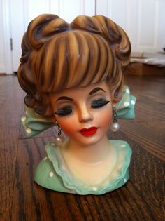 """6"""" Lady Head Vase with Polka Dot Dress and Huge Bow"""