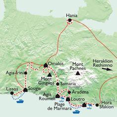 Carte Crète, Randonnées et baignades