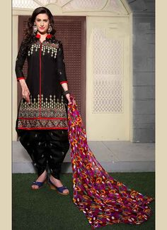 Black Cotton Embroidered Work Patiala Suit (Unstitched) - A -