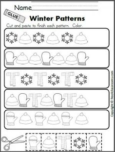 Free Winter Patterns Cut and Paste Worksheet.