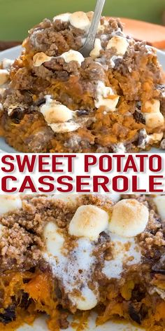 Sweet Potato Casserole is such a classic and traditional dish. Elevated and made even better with a cinnamon filling and buttery cinnamon pecan topping. #sweetpotatoes #sweetpotatocasserole #thanksgivingrecipes #sweetandsavorymeals #recipevideo