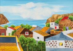 """RENZO MESCHIS (Palermo 1945) OLIO su tela """"tetti"""" firmato in basso a sinistra."""