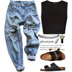 A fashion look from July 2015 featuring no sleeve shirt, blue ripped jeans and Birkenstock. Browse and shop related looks. 90s Fashion, Autumn Fashion, Fashion Outfits, Grunge Outfits, Casual Outfits, Casual Jeans, Club Outfits, Wet Seal Fashion, Mode Grunge