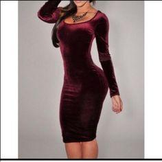 Boutique Dresses - NWT burgundy velvet midi dress prom Τάσεις Της Μόδας 8d3394da88d