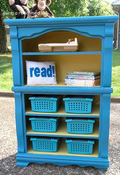 old dresser into new bookcase.  This is ADORABLE!