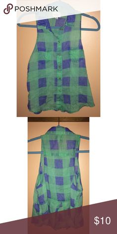 Blue and Green AEO Tank Nice comfy tank for any day of the week. The collar and slit on the back makes for a very stylish outfit! Only worn twice Accepting offers (: American Eagle Outfitters Tops Tank Tops