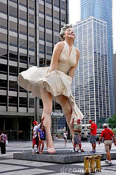 Forever Marilyn by Seward Johnson is the sculpture in Chicago Downtown.  The work is based upon the photo by Bernard of Hollywood.