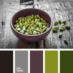The combination of shades of green with a muted color of eggplant, gray and black. This palette is perfect for exterior trim of a country house or balcony (loggia) of the city apartment. This scheme can be used to design a summer kitchen.