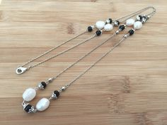 Long 30 Necklace Sterling Silver White Baroque Pearls by LindyTea