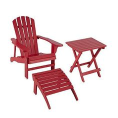 Relax outdoors on the porch or patio with this solid wood Adirondack Furniture Collection that is coated with three layers of UV protected paint to ensure its extended-life.