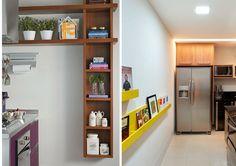 Armários demais podem sufocar e deixar a cozinha ainda menor! Não precisa sair ocupando todas as paredes com armários padrões… Pense em nichos, canaletas ou armários inteligentes.