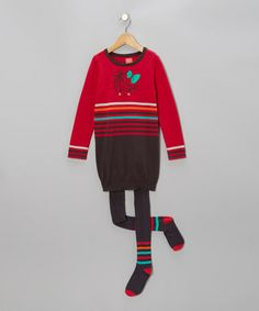 Take a look at this Framboise Knit Dress & Charcoal Tights - Toddler & Girls by Blanc de Blanc on #zulily today!