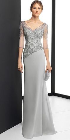 DressilyMe Bridal Dresses Online,Wedding Dresses Ball Gown, delicate chiffon v neck neckline 3 4 length sleeves sheath column evening dress with beaded embroidery Mother Of Groom Dresses, Mothers Dresses, Long Mothers Dress, Mother Of The Bride Gown, Robes Glamour, Embroidery Dress, Beaded Embroidery, Mom Dress, Dress Long