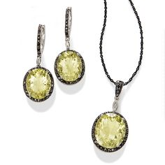 Lemon quartz are highlighted by black diamonds in this pendant and earrings. Isn't the color contrast on the jewelry beautiful!  >>Click on the black diamond jewelry to see more styles.