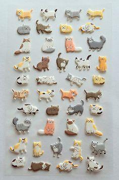 Funny Sticker World  Cats puffy Stickers