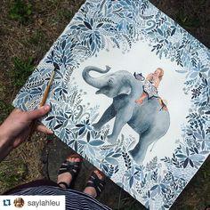 #Artwork by @saylahleu feature tag  #inspiringpieces #watercolour #watercolor #watercolourpainting #aquarelle #art #illustration #drawing #inspiration #pattern #wanderlust #animal #elephant