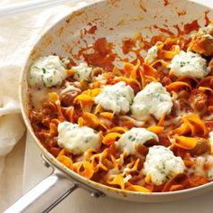 Favorite Skillet Lasagna Recipe- Recipes  Whole wheat noodles and zucchini pump up nutrition in this delicious, family-friendly dinner. Topped with dollops of ricotta cheese, it has an extra touch of decadence. No one will believe this one's lighter. —Lorie Miner, Kamas, Utah
