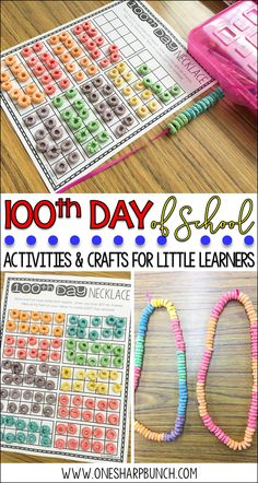 Celebrate the 100th Day of school with a 100th Day necklace!  Use the ten frames to easily count the Fruit Loops by 10's!  Plus, don't miss the other engaging 100th Day of School ideas, activities and crafts included in this post!