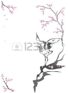 japanese crane: crane standing on a cliff among blooming springtime trees - seasonal background with place for your text
